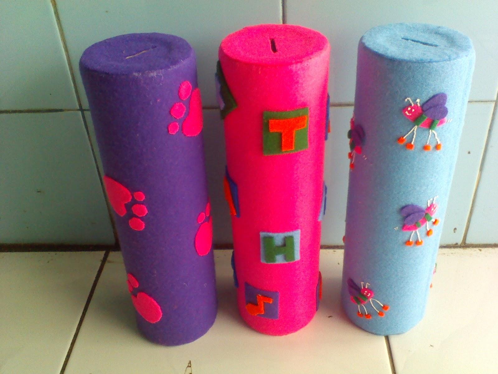 dari kones bekas gulungan benang kain dibungkus dengan kain flanel ...