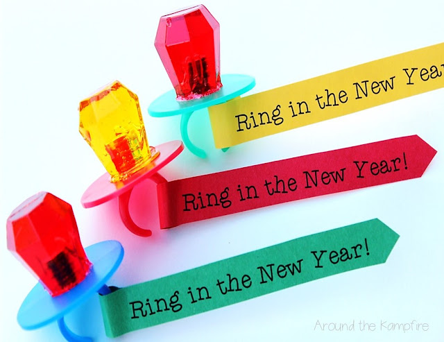 """Free printable """"Ring In the New Year"""" ring pops 