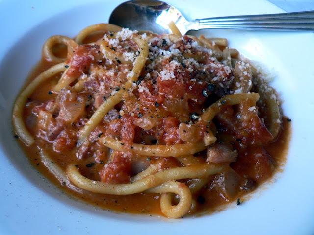 Bucatini all' amatriciana Roman dish