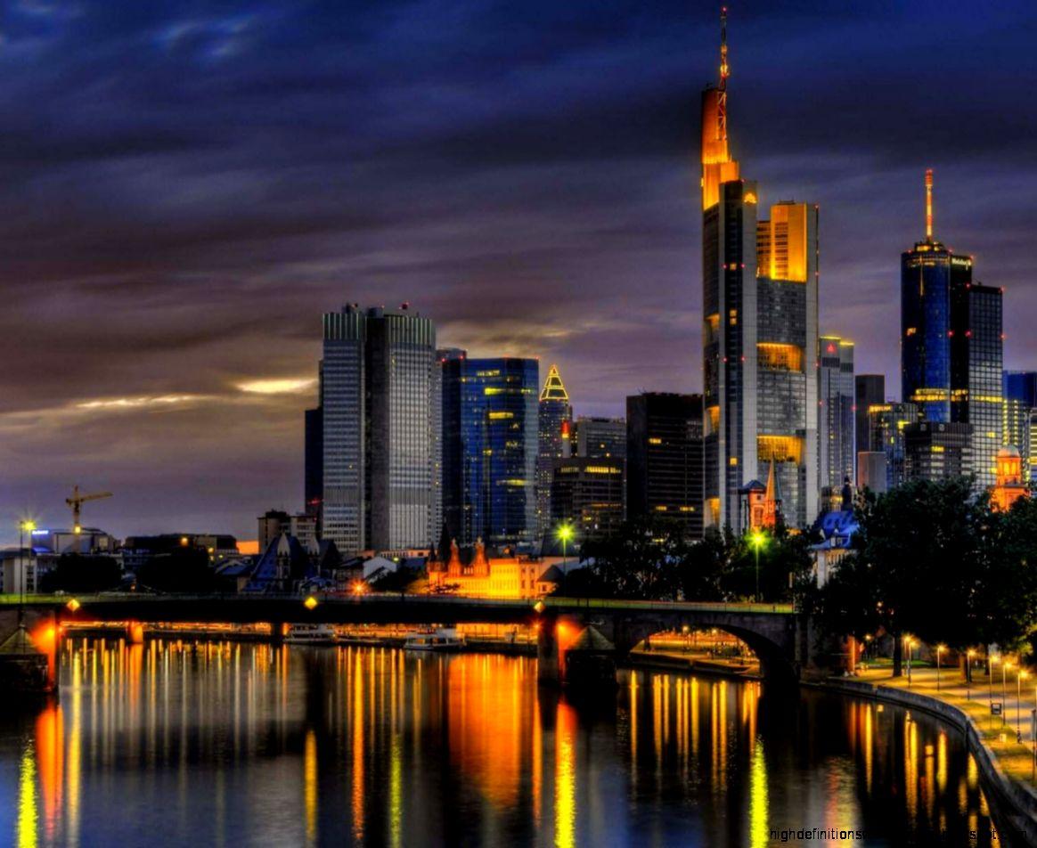Frankfurt City Skyline Night Wallpaper