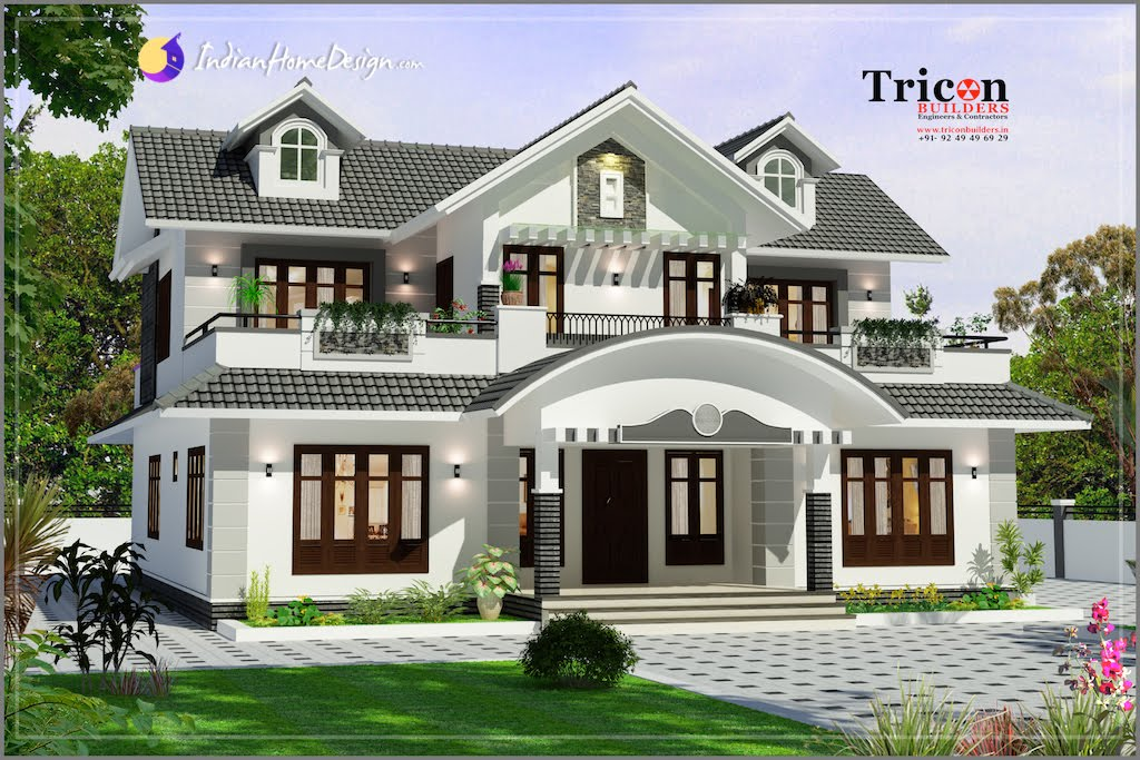 2355 Sq Ft 4 Bathroom Designer Home Villa Elevation Design
