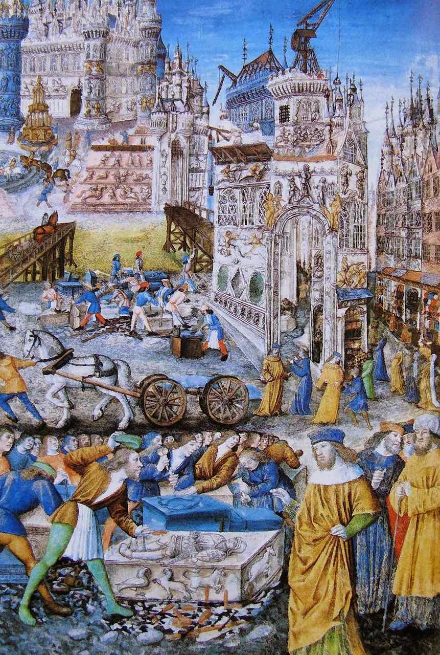 A construção de uma cidade, templos religiosos e prédios públicos e privados