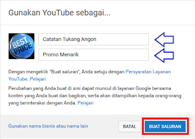 Cara Membuat Channel Saluran Baru Youtube