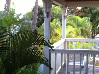 Blick auf die Terrasse vom Plantation Inn Bead and Breakfast