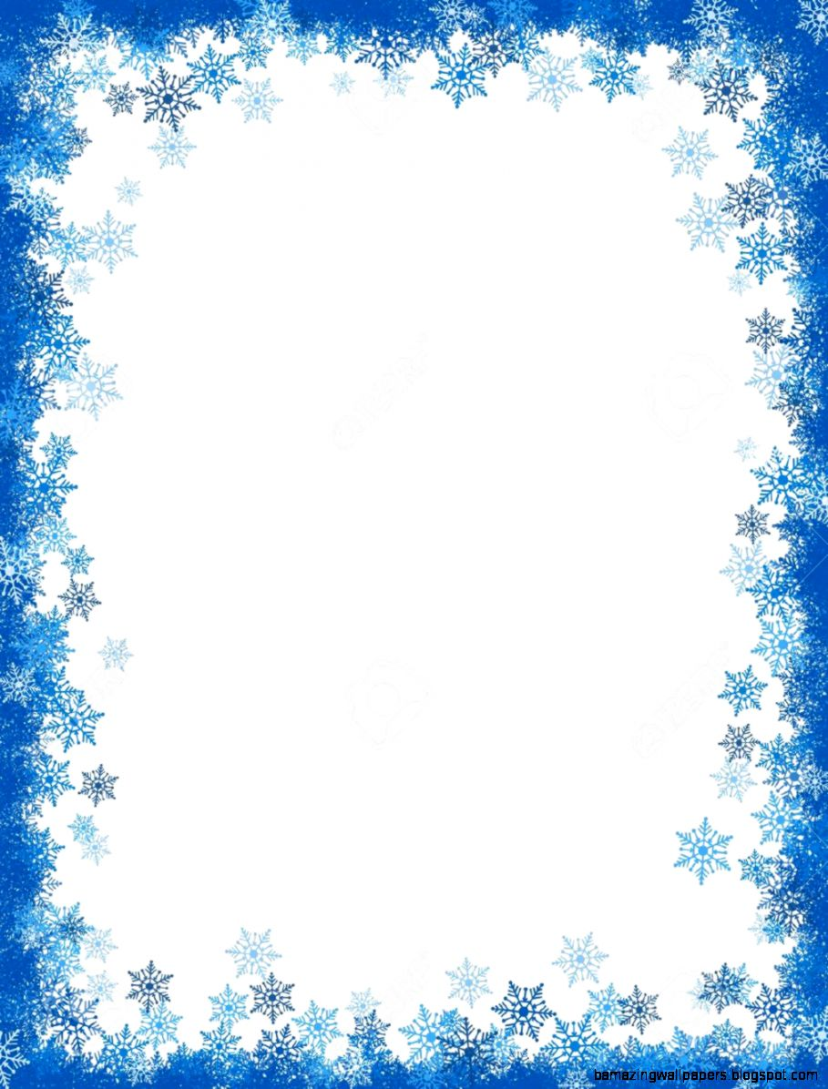 Winter Falling Snowflakes Frame  Border With Empty White Space