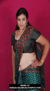 Uma Aunty in low hip saree