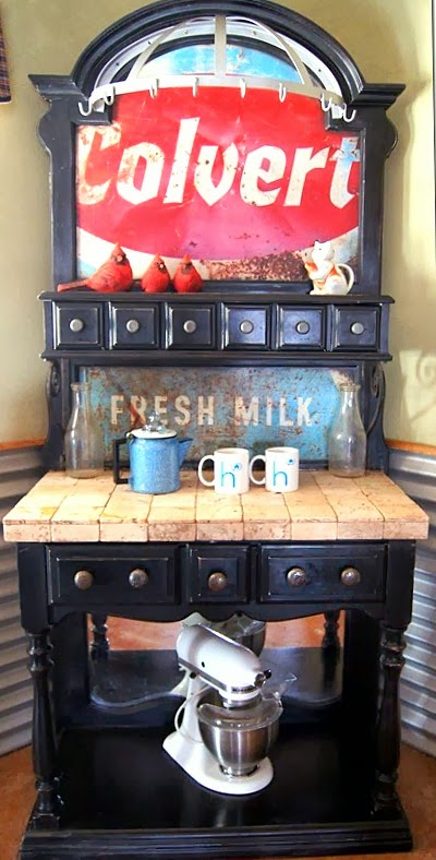 Old sign baker's rack coffee station - by Repurposed Life featured on http://www.ilovethatjunk.com