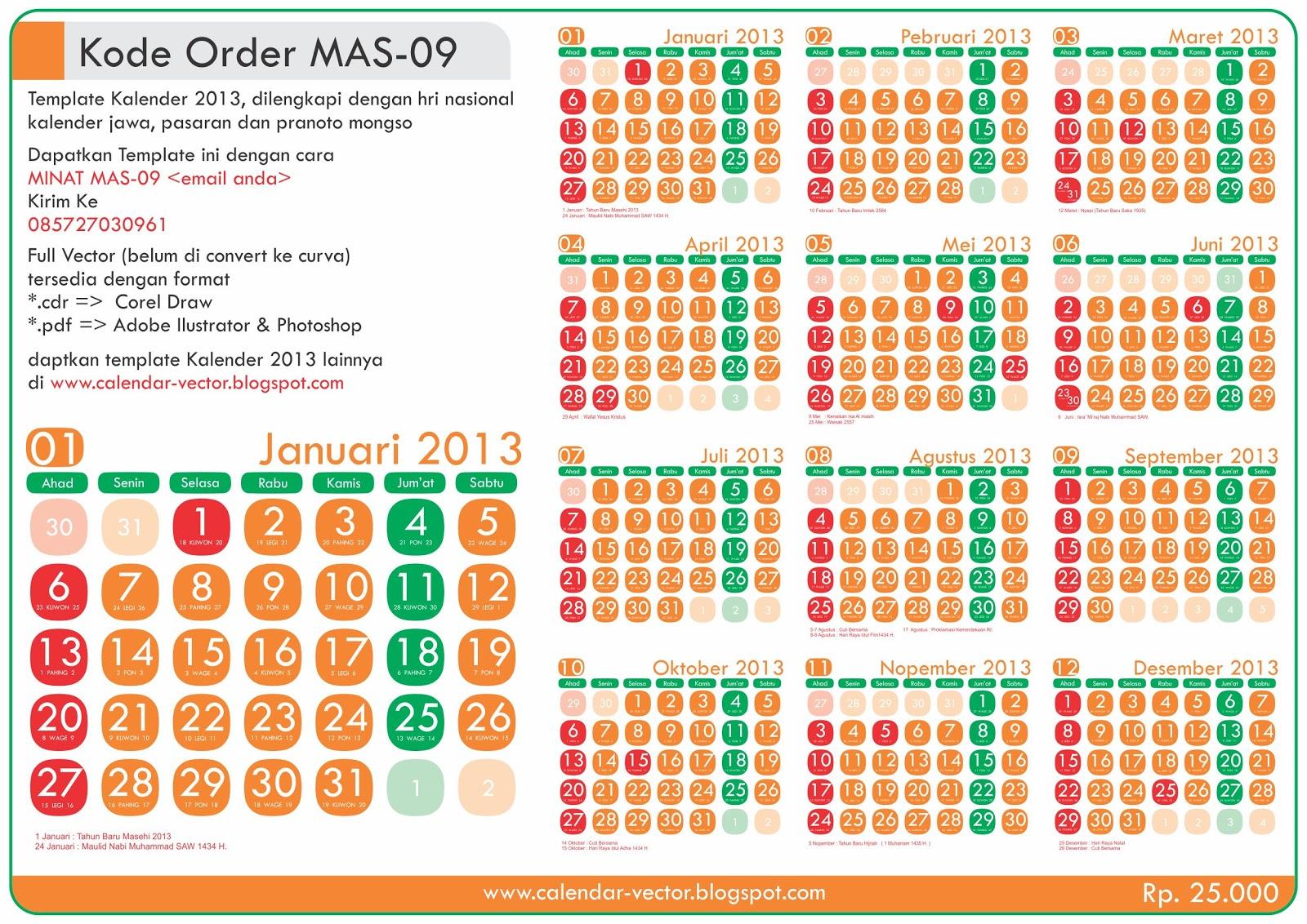 kode order mas 10 harga rp 25 00 dilengkapi tanggalan jawa pasaran ...