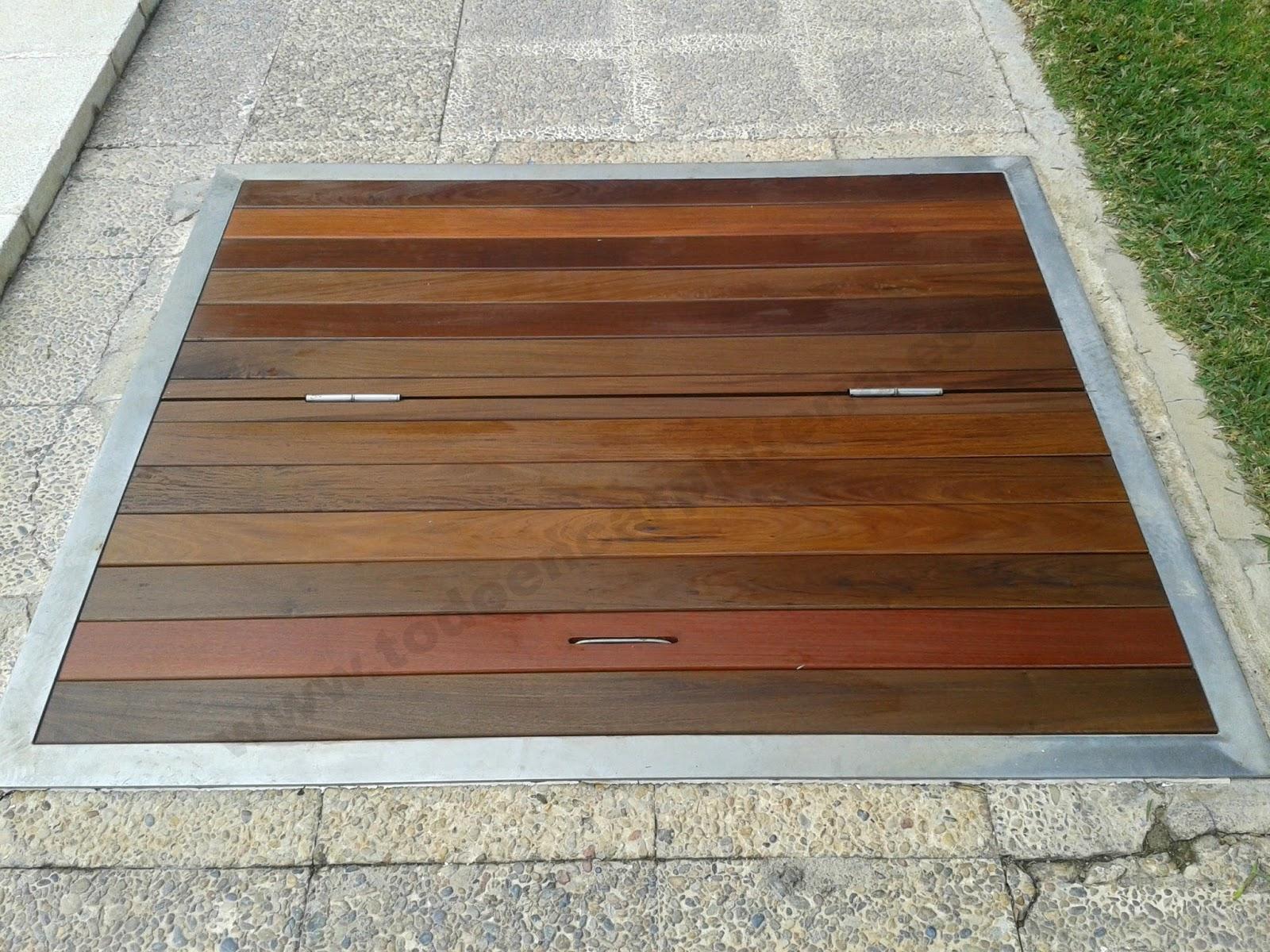 Tapa y puerta de madera de ipe para piscina todo en - Depuradora de piscina ...