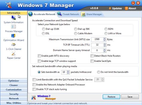Windows 7 Manager 4.2.6 - Accelerate Network
