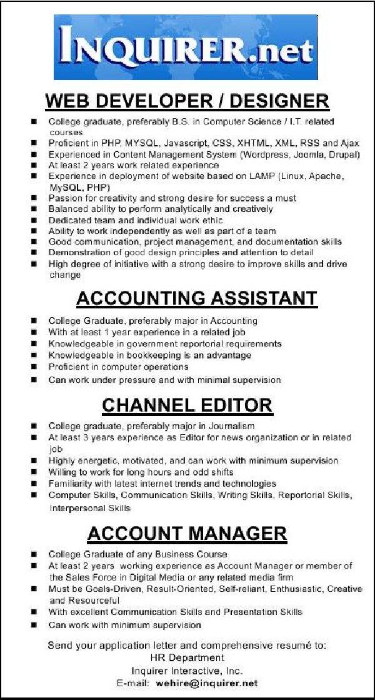 Various Hiring at Inquirer Interactive Inc. ~ Philippine Job ...