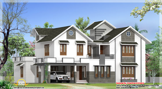 3400 square feet, modern 4 bedroom Kerala home elevation