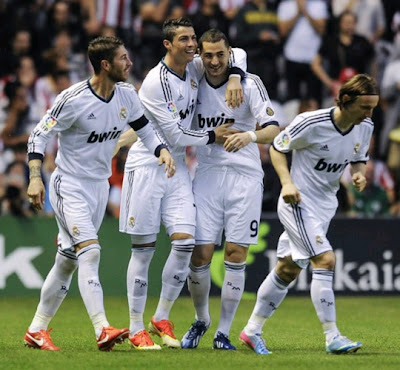 Real Madrid players celebrate a goal of Cristiano Ronaldo