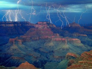 electrical storm at the grand canyon