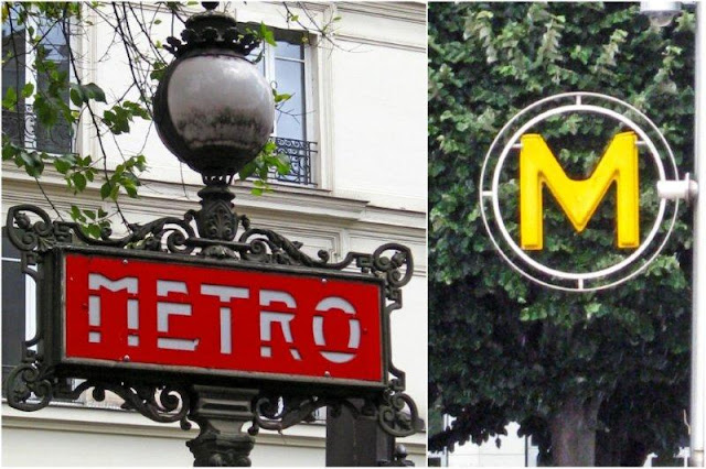 Entradas y simbolos del metro en Paris