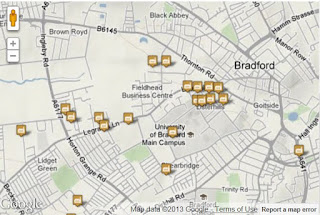 A map snip showing part of the interactive map of Horton with some of the many textile mills marked