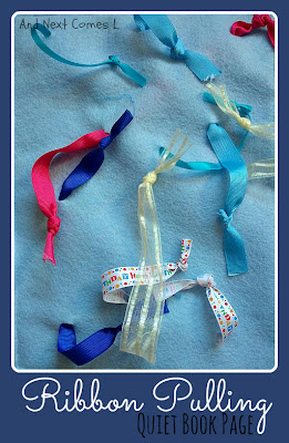 Ribbon pulling quiet book page from And Next Comes L