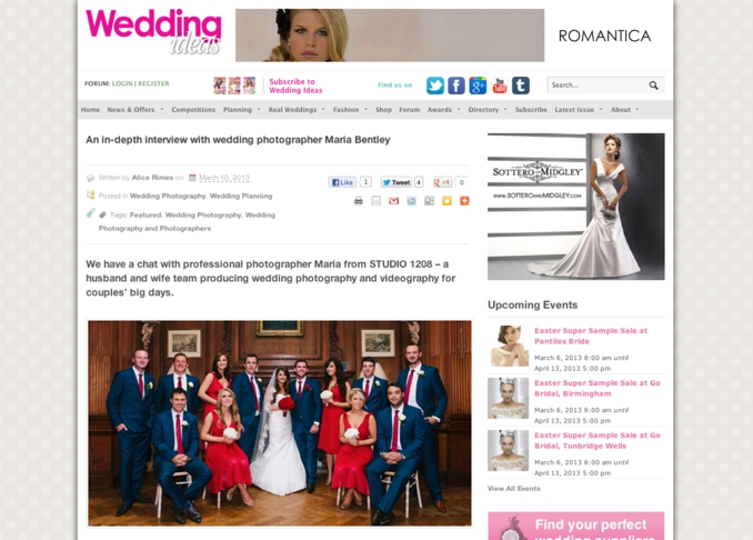 Wedding Ideas magazine interviews maria Bentley of STUDIO 1208