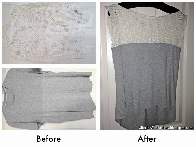 Ulterior Alteration Refashion: Crochet T-Shirt Mash Up