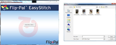 On the left, the start up screen of the software, on the right the folder on the card containing the scans