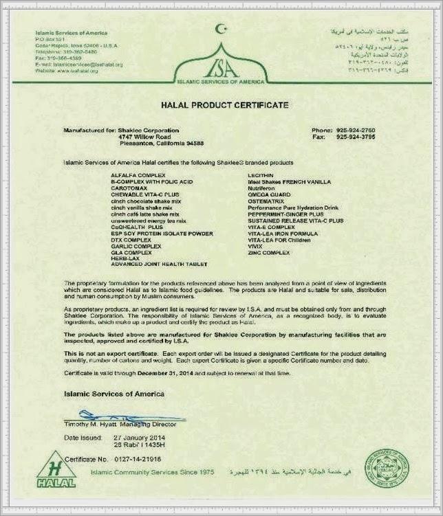 HALAL Certificate 2014