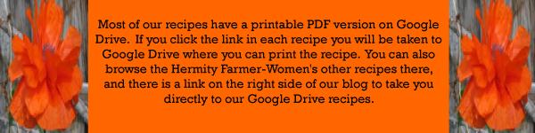Recipe Printing Information