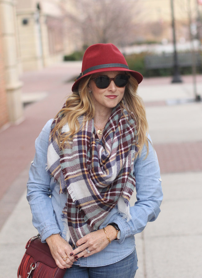 eugenia kim hat, elizabeth & james sunnies, ysl lips, shein scarf, rebecca minkoff bag