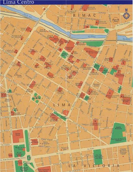 Mapa do centro da cidade de Lima
