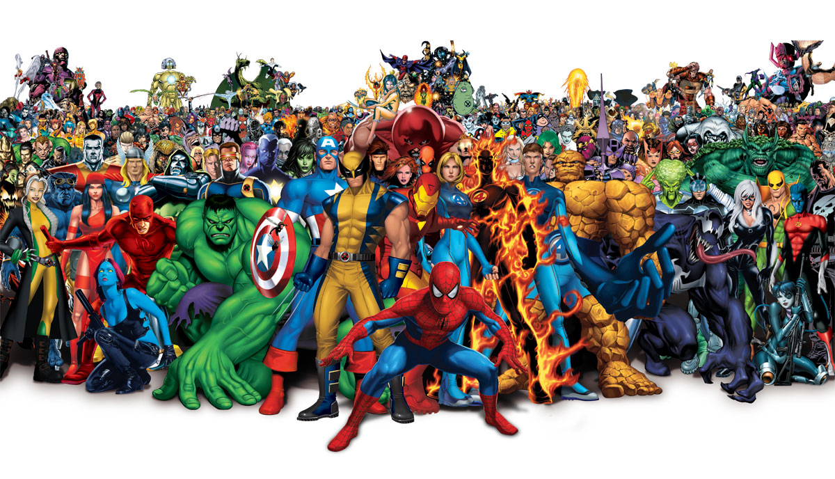 All marvel comics super heroes in a photo hd wallpaper