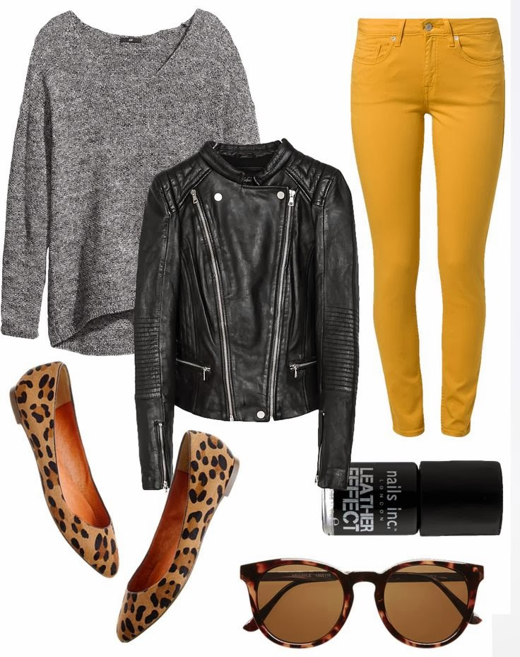 Grey sweater, black leather jacket, yellow pants and cheetah style shoes for fall