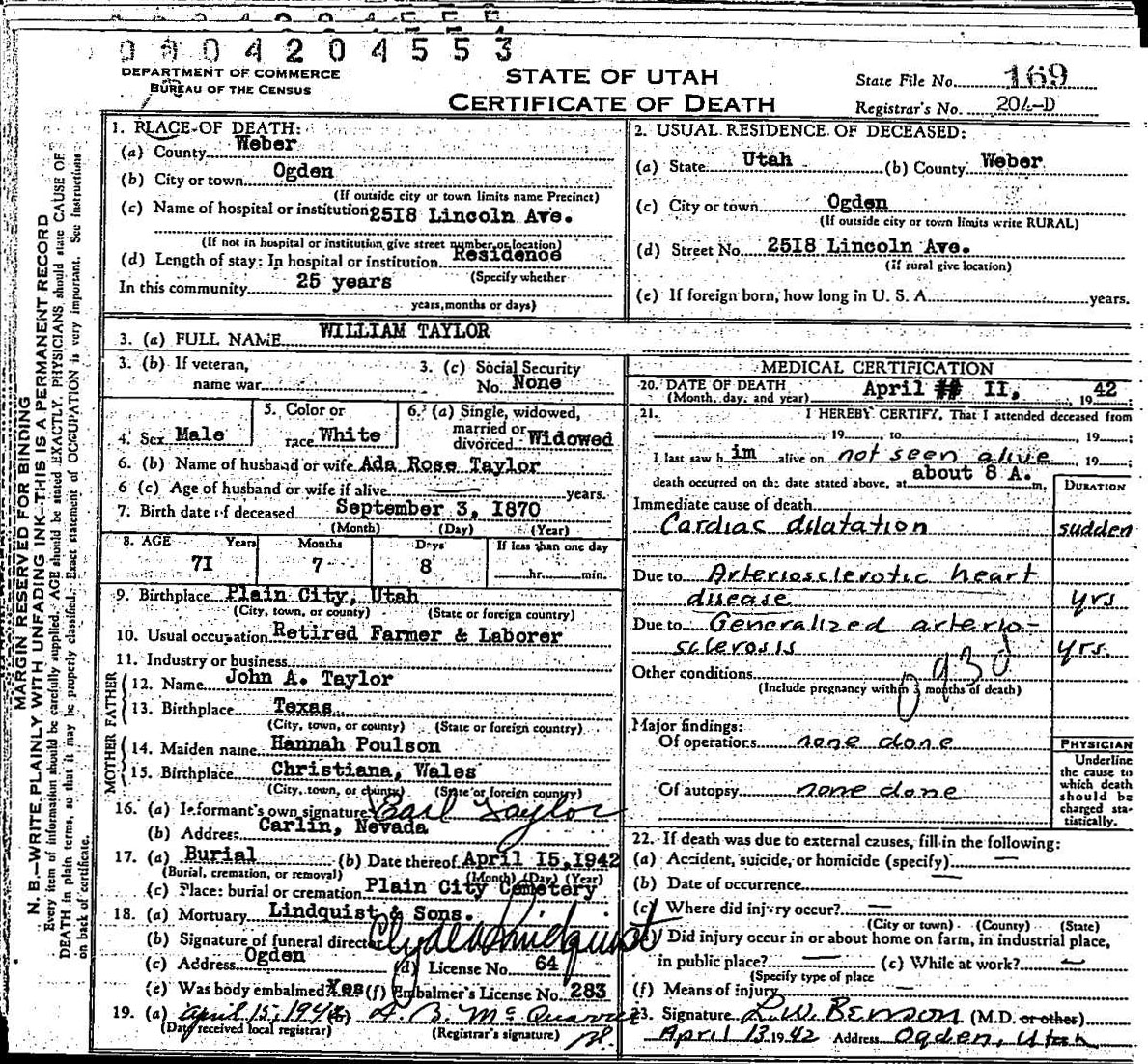 Deathcertificate taylor2cwilliamg source state of utah utah death certificates 1904 1956 entry 18685 william taylor 11 april 1942 digital images utah state archives and records xflitez Image collections