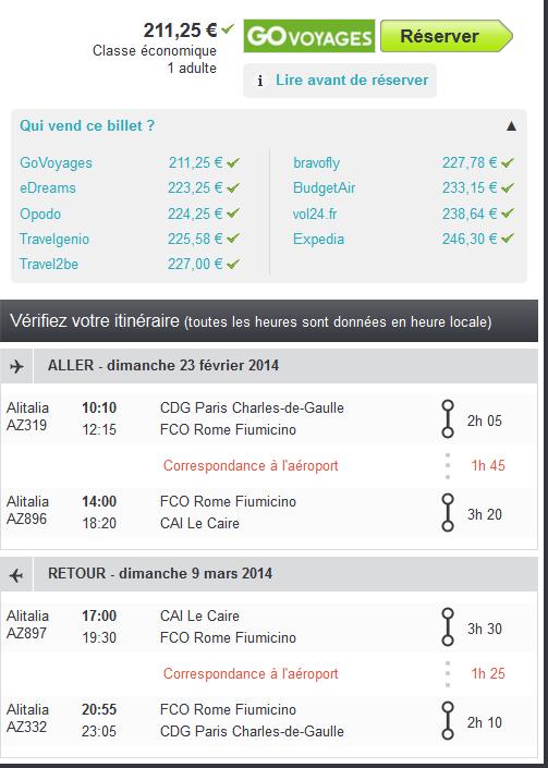 Alitalia Paris Le Caire