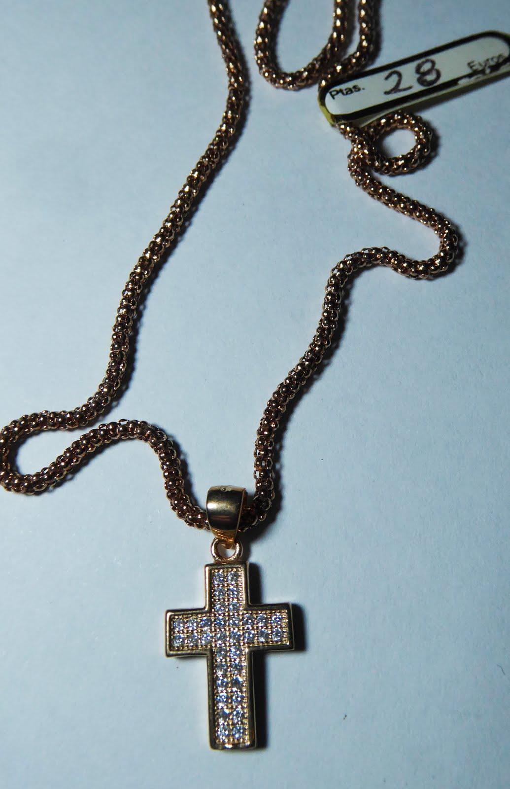 Cruz y cadena de plata rosa y circonitas