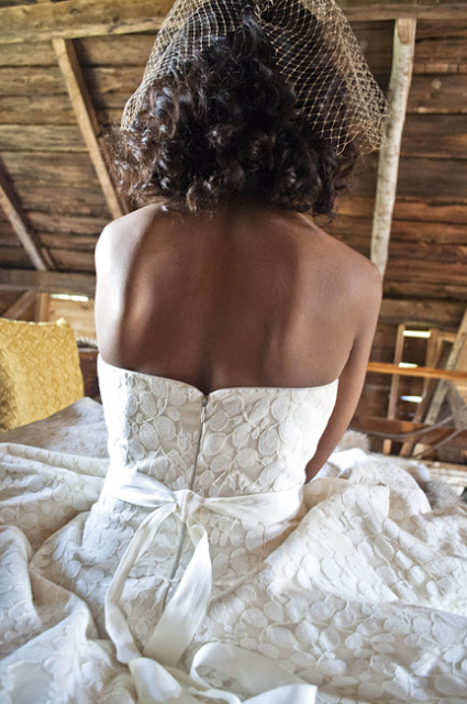 Vintage Rustic Farm Wedding Catskills shot by fine art wedding photographer Angela Cappetta back of wedding dress by the Cotton Bride