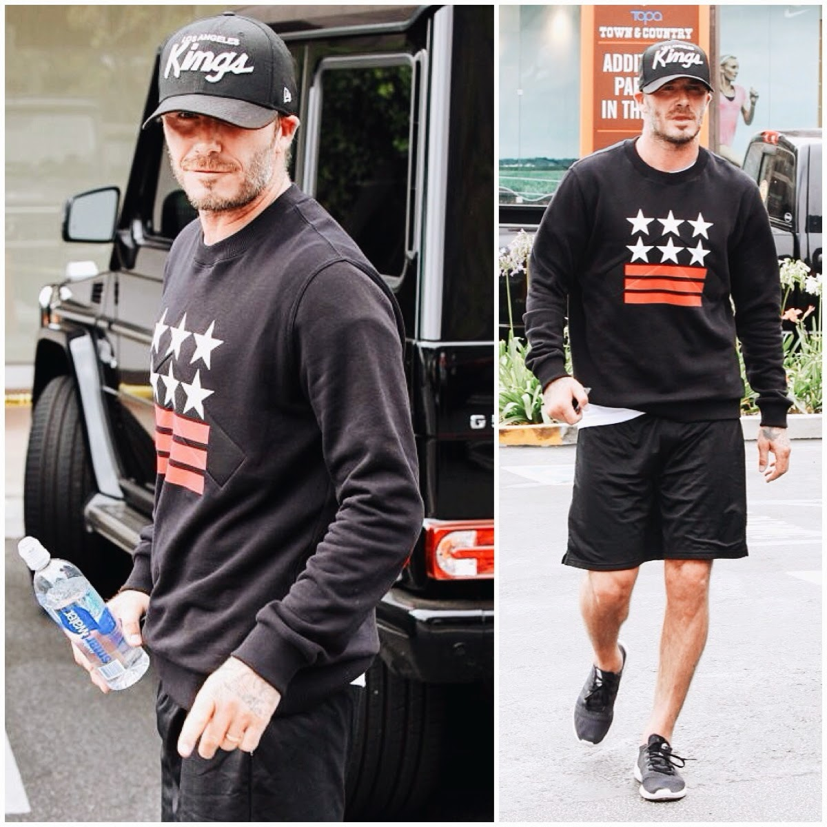David Beckham in Givenchy stars stripes sweatshirt - Soul Cycle in Brentwood California on 15th July 2014