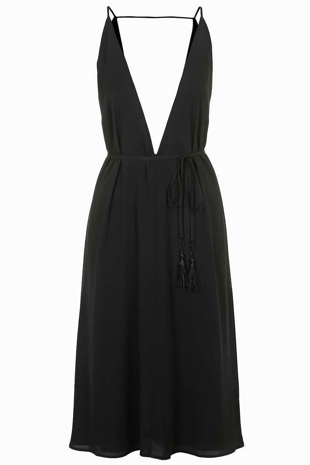 black deep neck dress