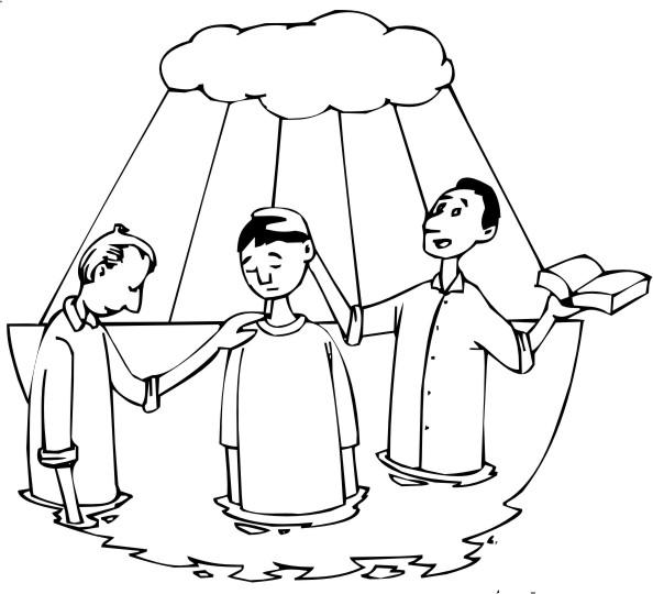 desenho bíblico para pintar batismo 1