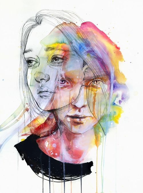 06-Girls-Change-Colors-Silvia-Pelissero-agnes-cecile-Watercolor-and-Oil-Paintings-Fading-and-Appearing-www-designstack-co
