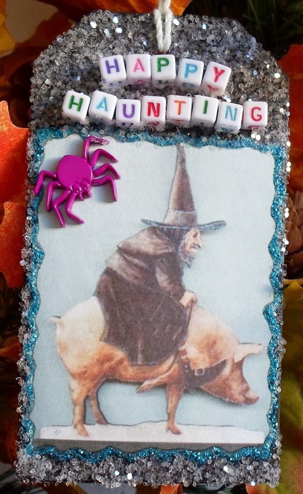 witch riding pig ornament