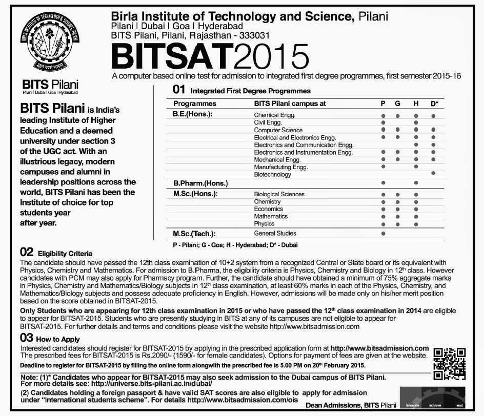 BITSAT 2015 Exam Dates & Details