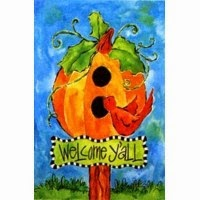 pumpkin birdhouse fall garden flag