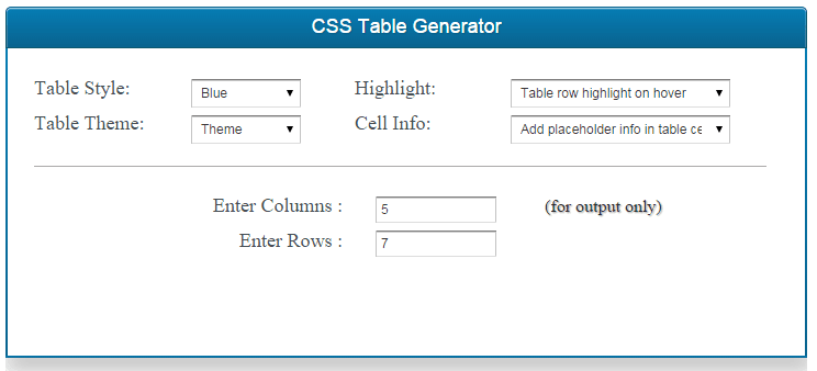 CSS Table Generator