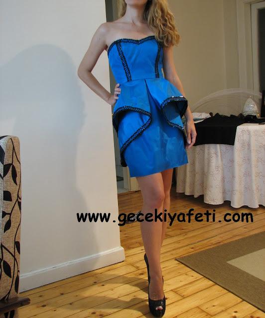 saks mavisi gece elbisesi