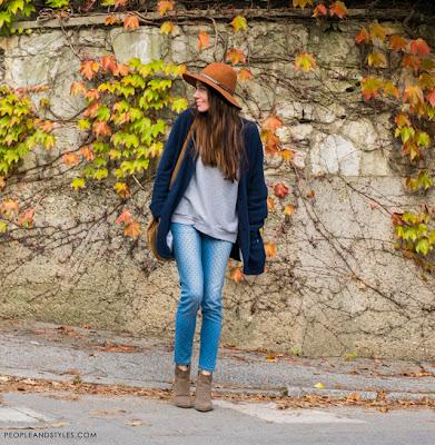 polka dot jeans, heart shape dots jeans Zara, how to style skinny jeans and fedora hat, Ana Josipović, keep it simple style, jesen zima moda 2014, kako stilizirati fedora šešir i uske traperice na točkice