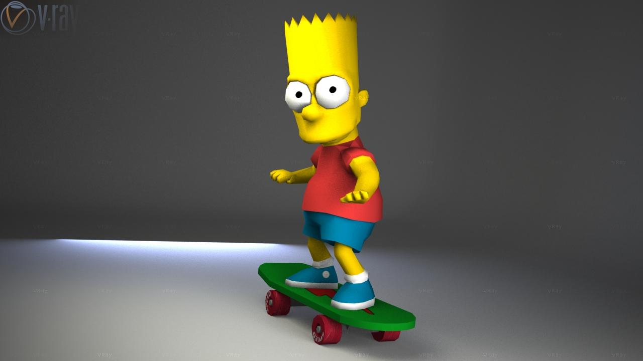 Skateboard Bart Papercraft