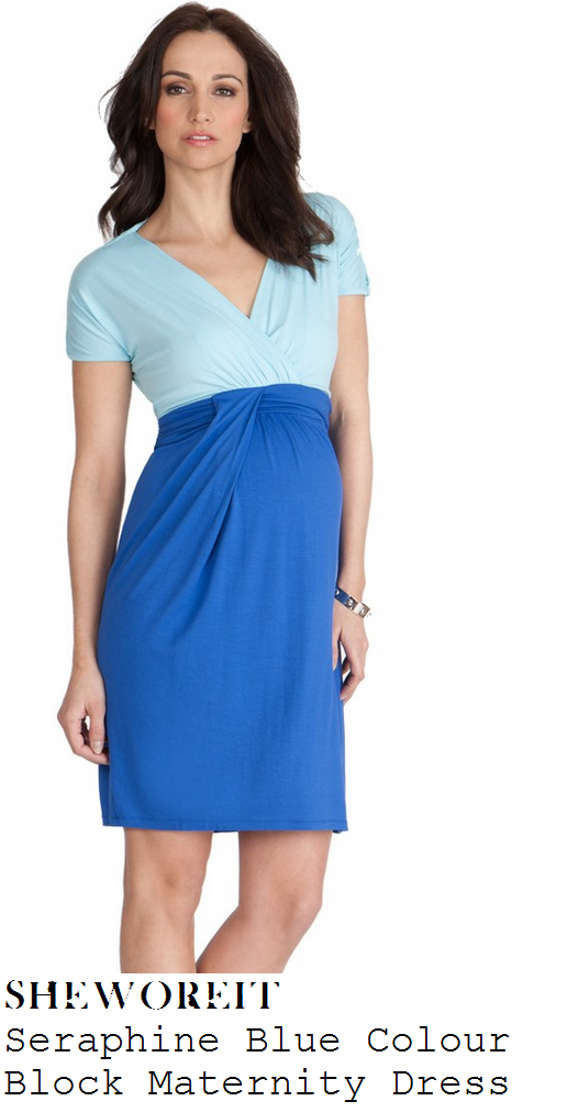 holly-willoughby-light-aqua-blue-and-blue-colour-block-v-neck-wrap-front-short-sleeve-dress-this-morning