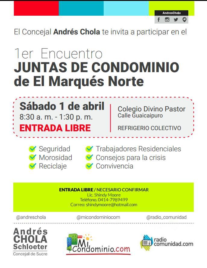 1er Encuentro de Juntas de Condominio de El Marques Norte, promueven @AndresChola y @micondominioco