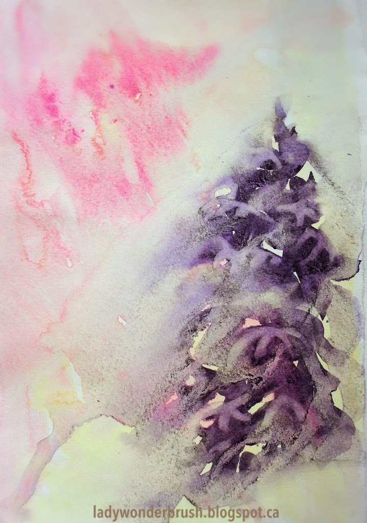 Feeling of wind playing with snowy branches  in watercolor by Olga Peregood