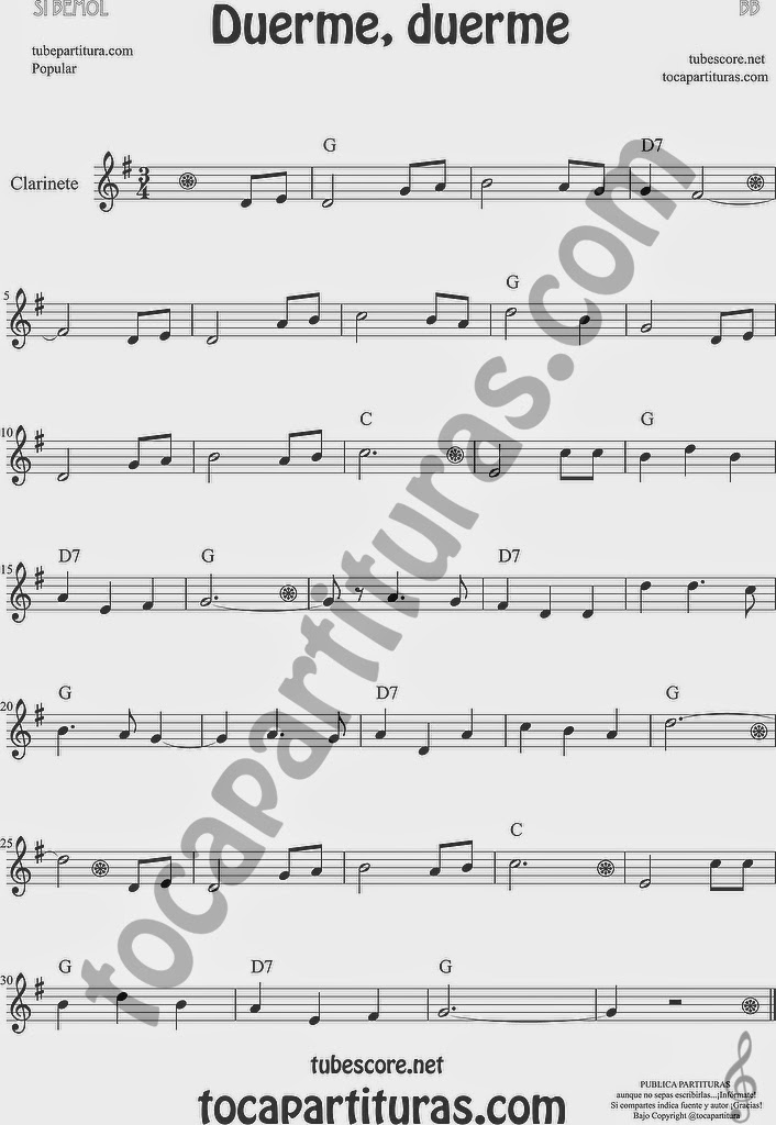 Duerme Duerme Partitura Popular de Clarinete Sheet Music for Clarinet Music Score
