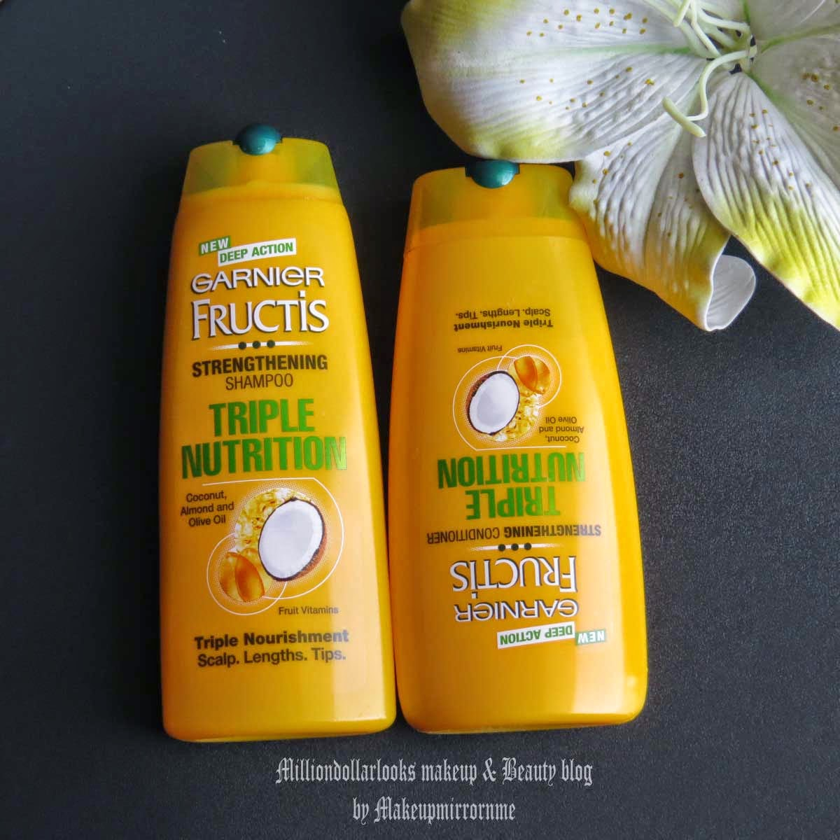 Garnier Fructis Triple Nutrition Strengthening Shampoo & Conditioner Review, Indian makeup and beauty blog, Garnier shamppo review India, Garnier hair conditioner review India, Best shampoo for hairfall, Indian beauty bloggers, Indian beauty blog, Garnier india, Best shampoos for hair fall, New launch garnier products, milliondollarlooks makeup and beauty